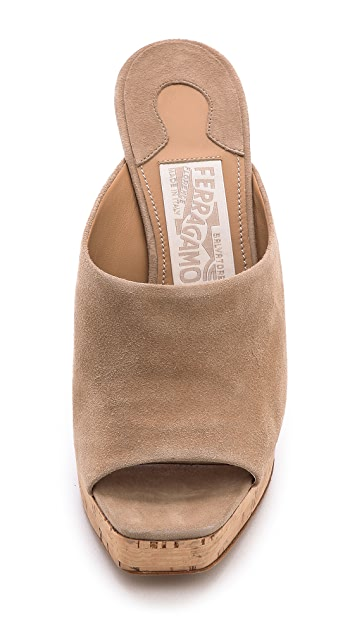 Salvatore Ferragamo Perty Lucite Inset Cork Wedges