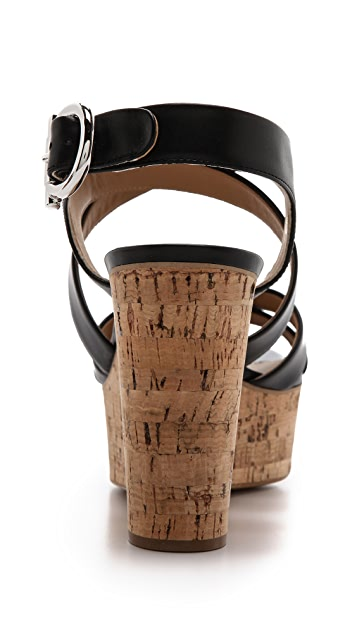 Salvatore Ferragamo Persey Cork Wedge Sandals