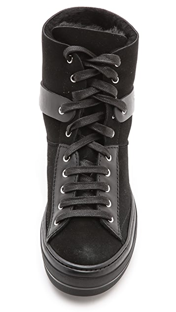 Salvatore Ferragamo Nicky Shearling High Top Sneakers