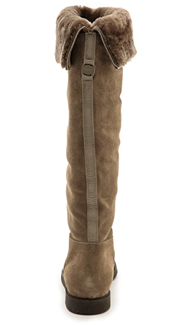 Salvatore Ferragamo My Ease Shearling Tall Boots