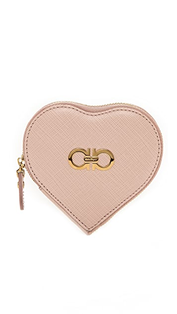 Salvatore Ferragamo Gancini Icona Heart Coin Purse