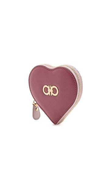 Salvatore Ferragamo Gancini Heart Coin Case