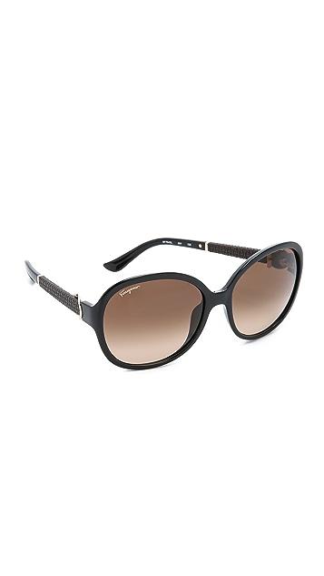 Salvatore Ferragamo Round Gancio Sunglasses