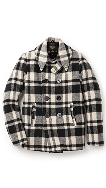 Gerald & Stewart by Fidelity Plaid Pea Coat