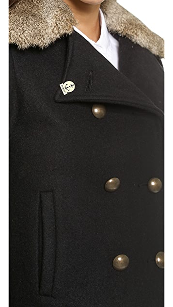 Gerald & Stewart by Fidelity Short Rabbit Collar Pea Coat