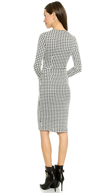 5th & Mercer Long Sleeve Houndstooth Dress