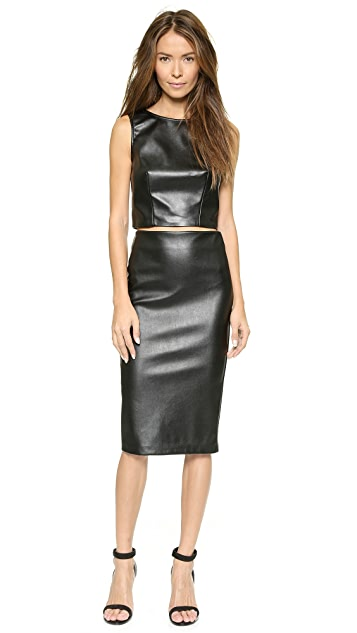 5th & Mercer Faux Leather Crop Top
