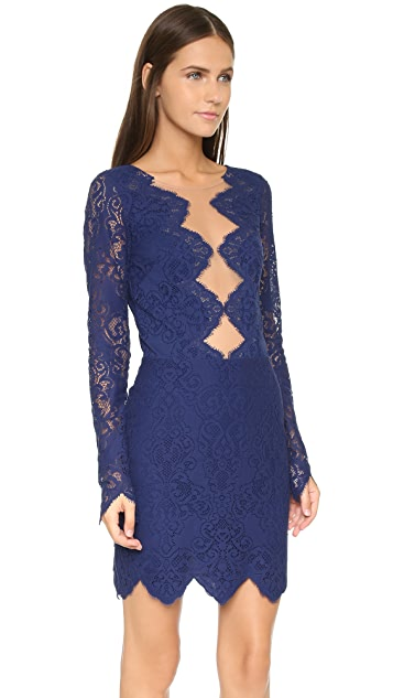 For Love & Lemons Noir Lace Mini Dress