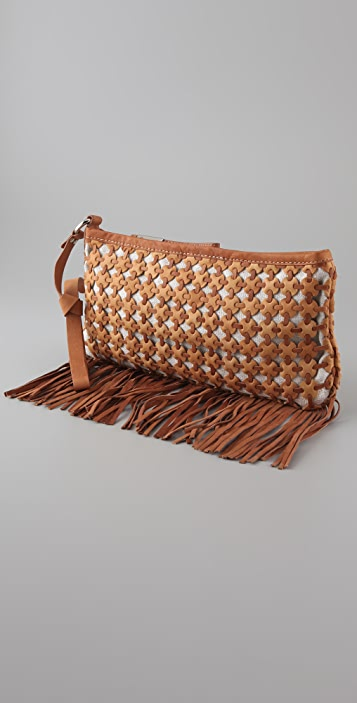 Foley + Corinna Woven Circle Fringe Clutch