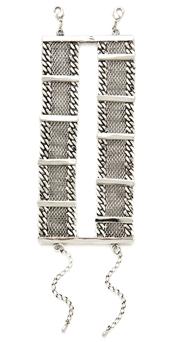 Fortune Favors the Brave Bar Mesh Chain Bracelet