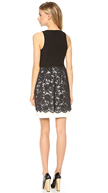 4.collective Fitted V Neck Lace Dress