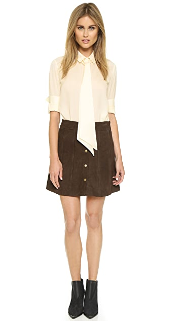 FRAME Le Paneled Suede Miniskirt