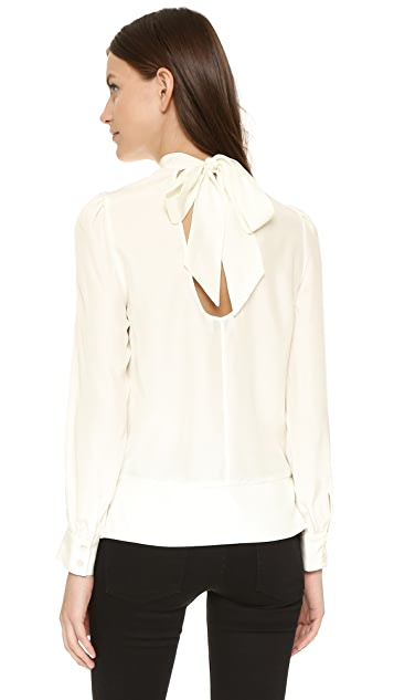 FRAME Le Back Tie Pleated Shirt