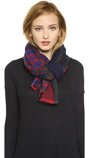 Franco Ferrari Double Kilt Plaid Scarf