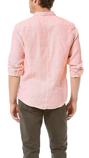 Frank & Eileen Narrow Stripe Linen Sport Shirt