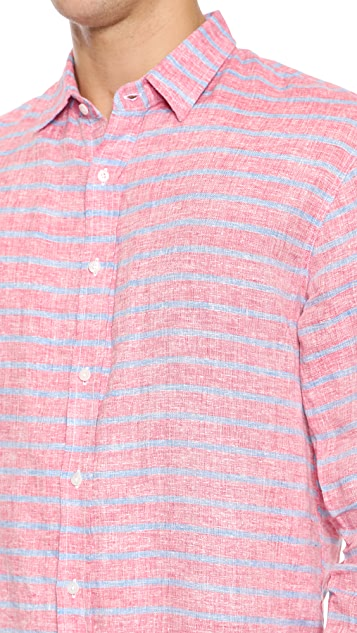 Frank & Eileen Horizontal Striped Linen Shirt