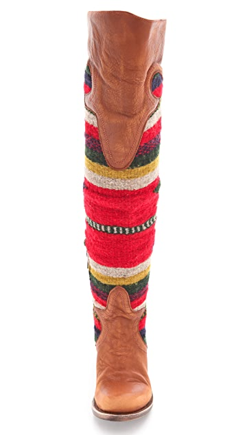 FREEBIRD by Steven Caballero Over The Knee Boots with Woven Panels
