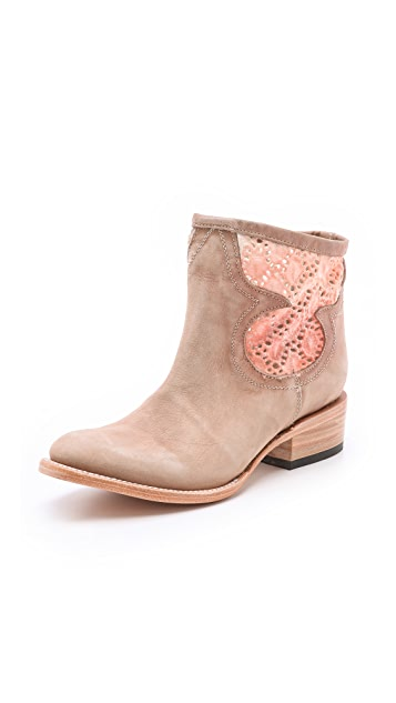 FREEBIRD by Steven Cabcro Leather Booties with Cutout