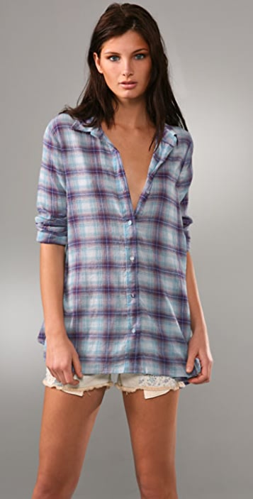 Free People Merries Plaid Button Down Top