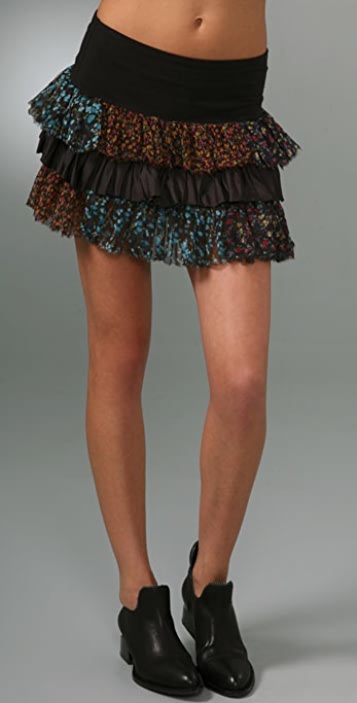 Free People Merrie's Print Ruffle Skirt