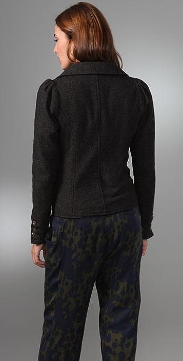Free People Herringbone Puff Sleeve Jacket