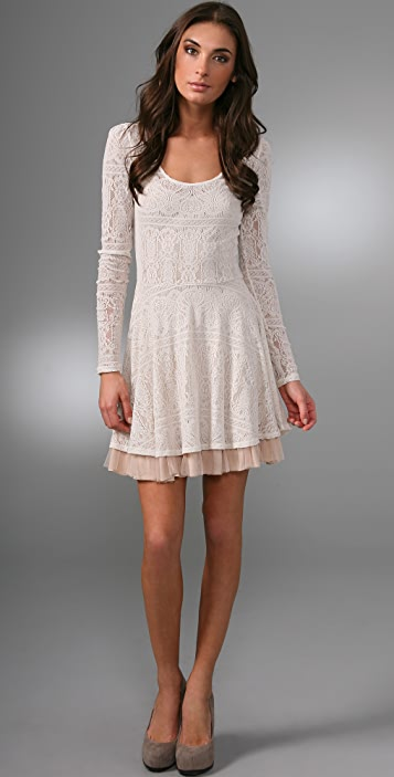 Free People Lace Puff Sleeve Dress