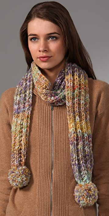Free People Swirly Stripe Pom Pom Scarf