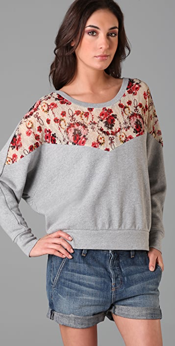 Free People Lace Peek-a-Boo Sweatshirt
