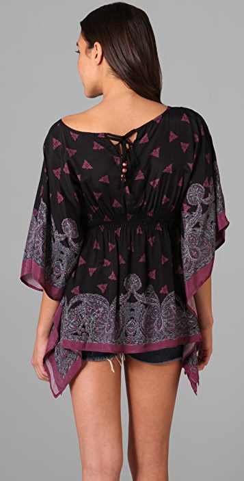 Free People Border Print Caftan Top