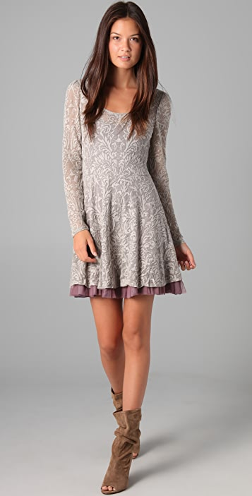 Free People Floral Burnout Puff Sleeve Dress