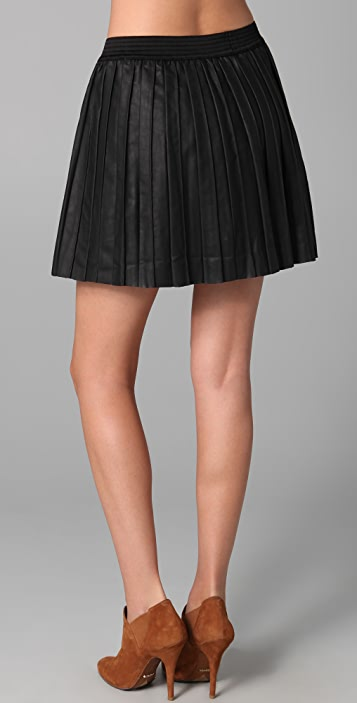 Free People Vegan Leather Pleated Skirt