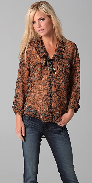 Floral Easy Rider Button Down Blouse