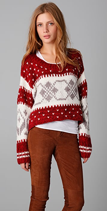 Free People Cropped Fair Isle Pullover
