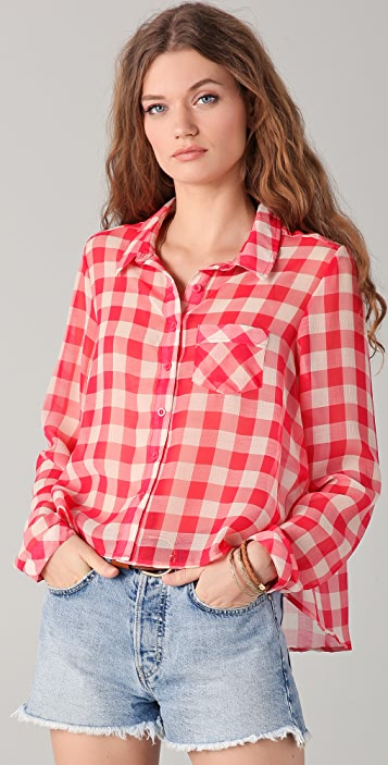 Free People Sheer Gingham Button Down Blouse