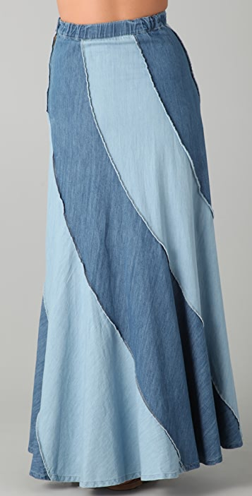 Free People Contrast Denim Maxi Skirt