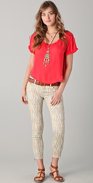 Free People Ikat Cropped Skinny Jeans