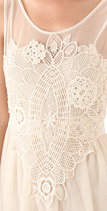 Free People Crochet Applique Dress