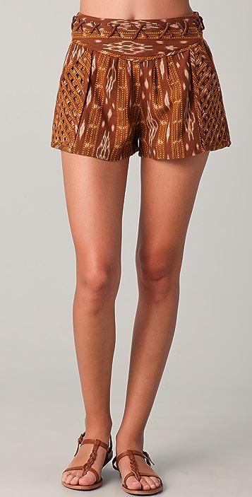 Free People New Romantics Lattice Ikat Shorts