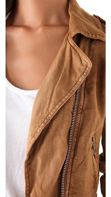 Free People Linen Moto Jacket