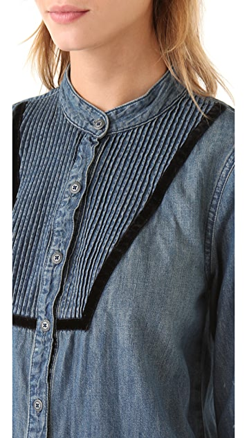 Free People Chambray Pintuck Bib Shirt