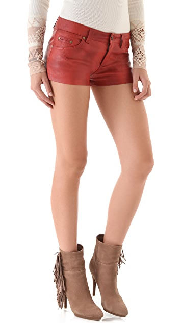 Free People Vegan Leather Shorts