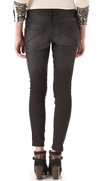 Free People Ankle Skinny Jeans with Vegan Leather