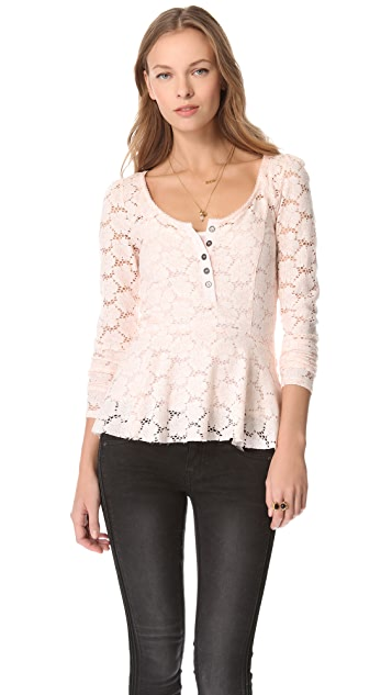 Free People Get Cozy Lace Top