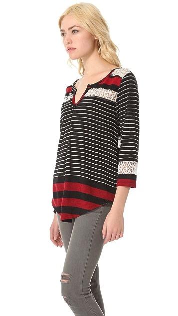 Free People Stripe & Crochet Top
