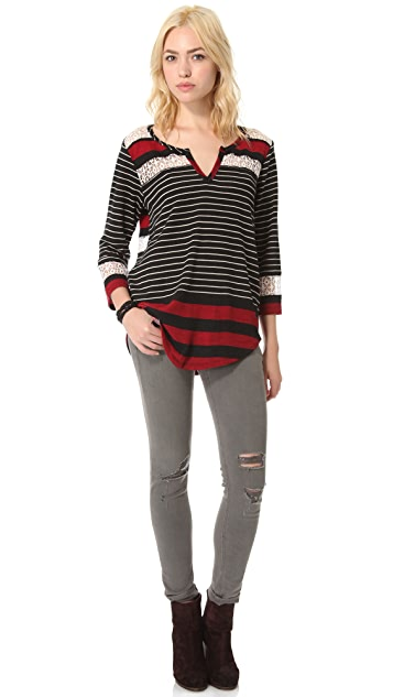Free People Stripe & Crochet Top