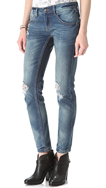 Free People Destroyed Skinny Jeans