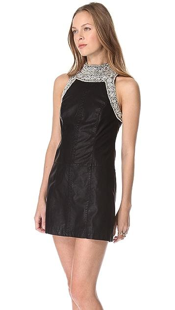 Free People Embellished Vegan Leather Dress