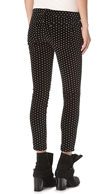 Free People Polka Dot Crop Skinny Pants