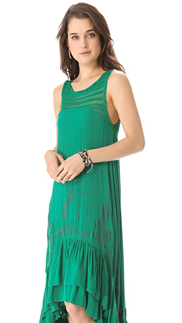 Free People Long Tiered Crochet Dress