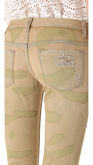 Free People Destroyed Camo Skinny Jeans